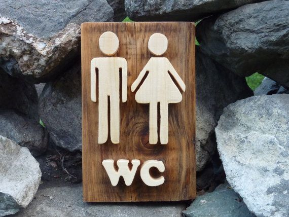 Bathroom sign wooden wall decor restroom sign by Melcreationsbois, €28.00