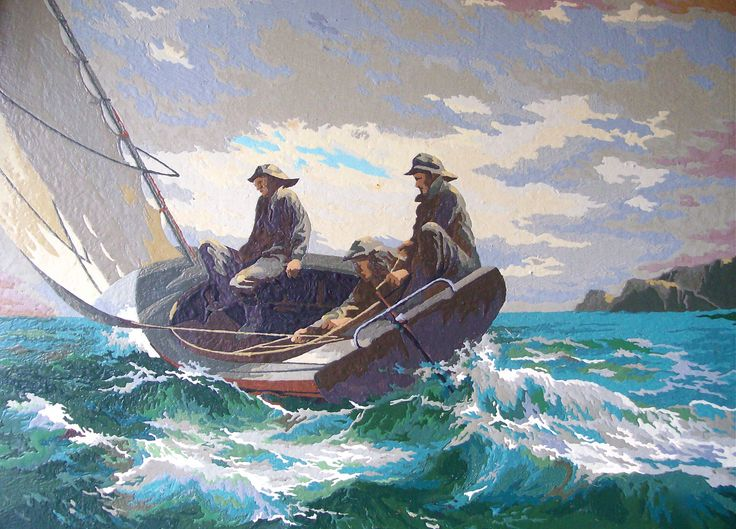 Vintage Paint By Number - Fishermen At Sea - Seascape - 24 x 18 inches