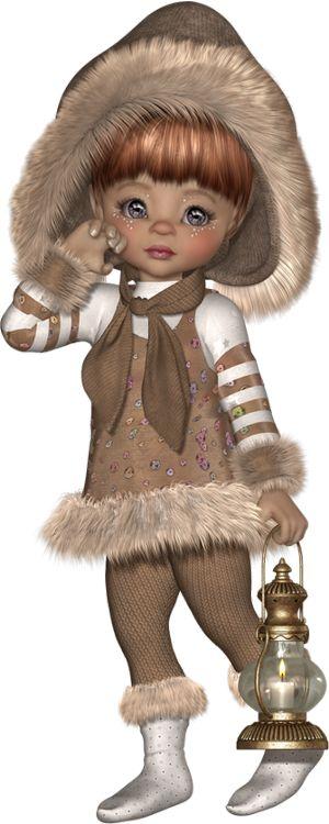 Hiver : tube cookie - Poser doll : winter - Posertuben png