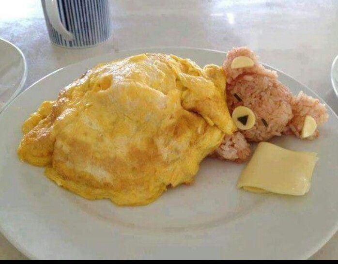 Rijst beertje onder dekentje van ei
