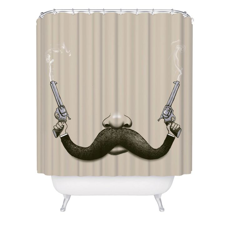 Shower Curtain, Mustache, Guns, Cowboy, Movember, Funny Shower Curtain, Made