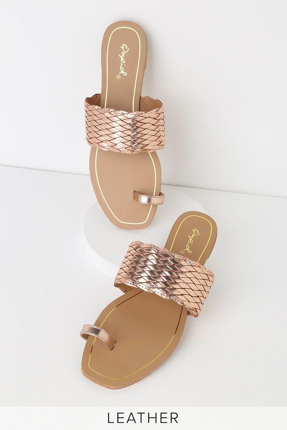 Lulus | Candice Rose Gold Woven Toe-Loop Slide Sandal Heels | Size 6