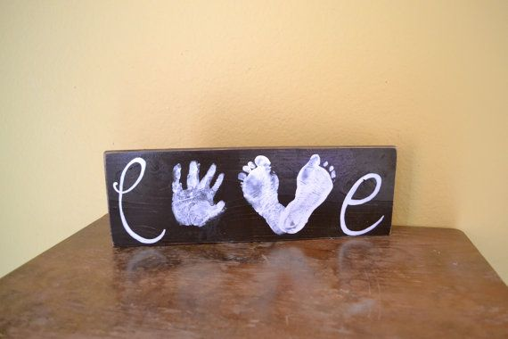 Love Handprint Footprint Wood Sign by GiftsbyGaby on Etsy