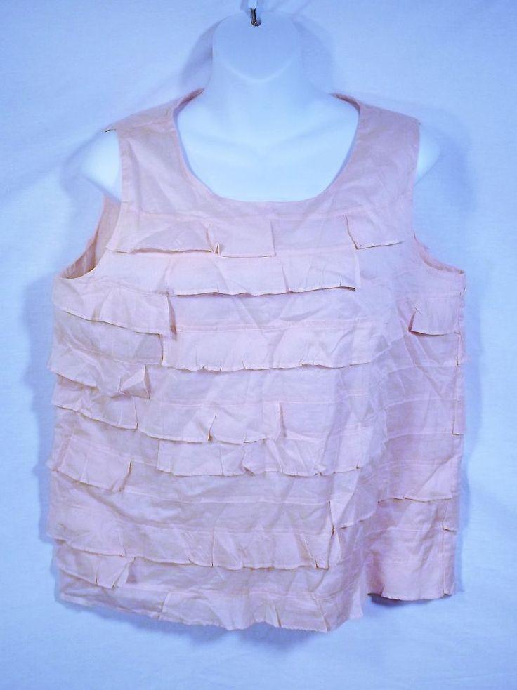Talbots Petite size 10P Pink Ruffles Sleeveless Shirt Blouse Tank Top #Talbots #Blouse #Casual
