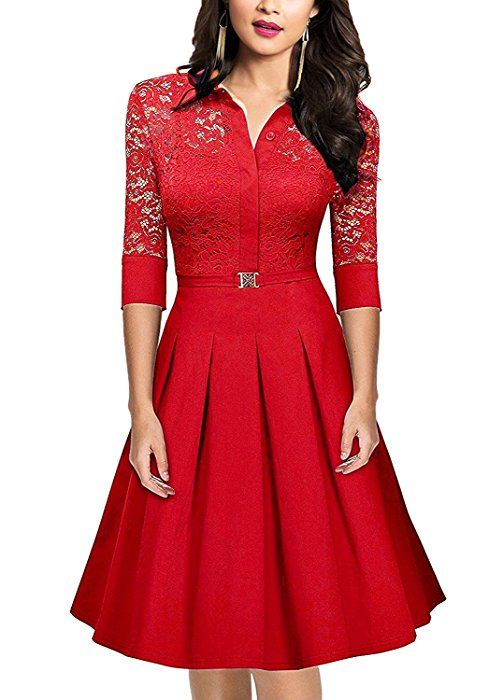 3f130be6f035 SUJAN Women s Vintage 1950s Style 3 4 Sleeve Red Lace A-Line Dress Red M at  Amazon Women s Clothing store