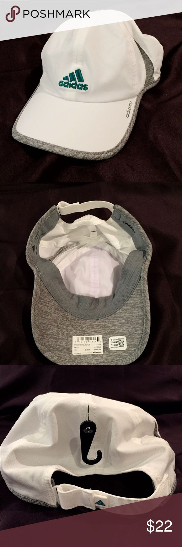 NEW Adidas women's white hat adizero II Adidas women's adizero II HAT. NEW WITH TAG. bought at adidas warehouse sale (no returns). Green (turquoise) adidas logo. Marbles gray trim. Super cute hat! NEVER WORN! Adidas Accessories Hats