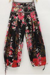Ethnic Style Elastic Waist High-Waisted Printed Spliced Women's Pants