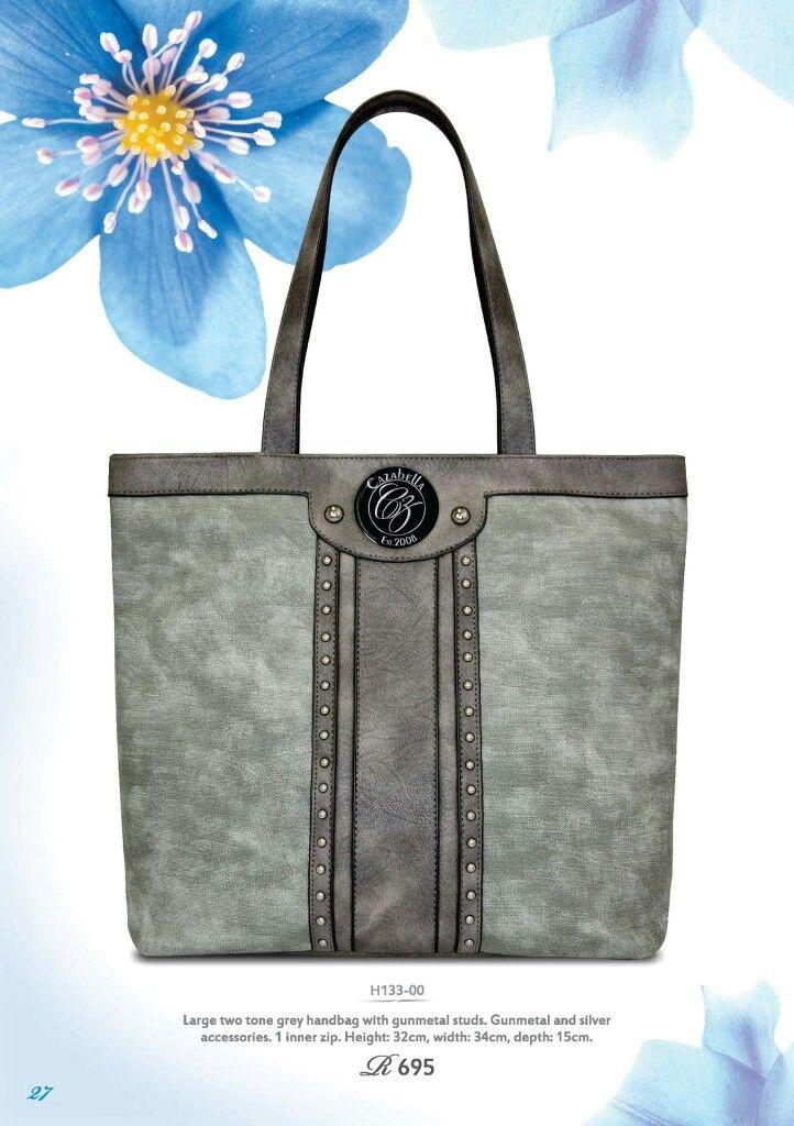 Large two tone grey handbag with gunmetal studs @ R695    #handbag #accessories #fashionista #instabag #stylish #baggram #fashionhandbag ronel.cazabella@yahoo.com