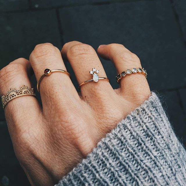 Otiumberg | Half Lace Ring by Grace Lee, Grace Ring by Lumo and the Blue Topaz Sienna Halo Ring by Davina Combe. Available online.