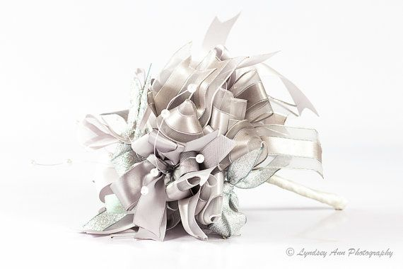Platinum Silver Ribbon Bouquet  'Throw Bowquet'  by ditsybride