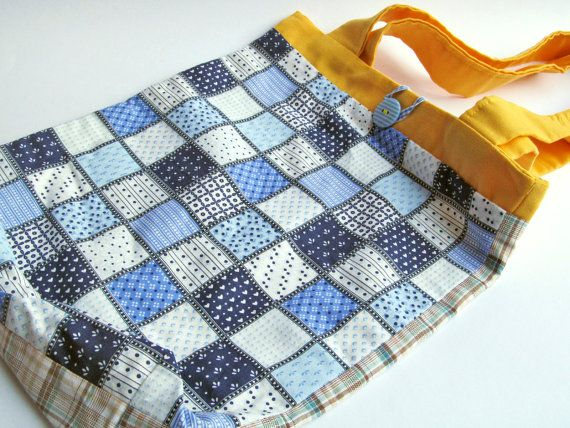 Blue Patchwork Fabric Tote Bag by bugcrafts on Etsy, $30.00