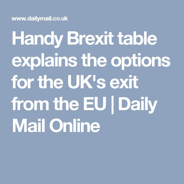 Handy Brexit table explains the options for the UK's exit from the EU | Daily Mail Online