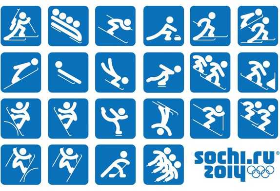 """Sochi 2014 Organizing Committee unveiled the pictograms of the 2014 Winter Olympic Games. The pictograms are based on those of the 1980 Summer Olympic Games in Moscow and, as the press release states, """"taking into account modern views."""""""