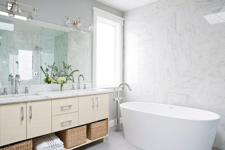 Cream Dual Washstand with White Marble Countertop