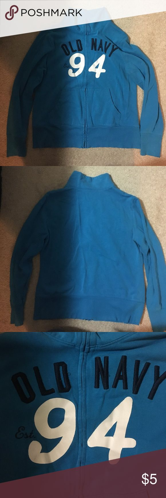 Blue old navy zip up jacket Pretty blue sweatshirt. Zips in the front. From old Navy. Previously loved ❤️ Old Navy Tops Sweatshirts & Hoodies