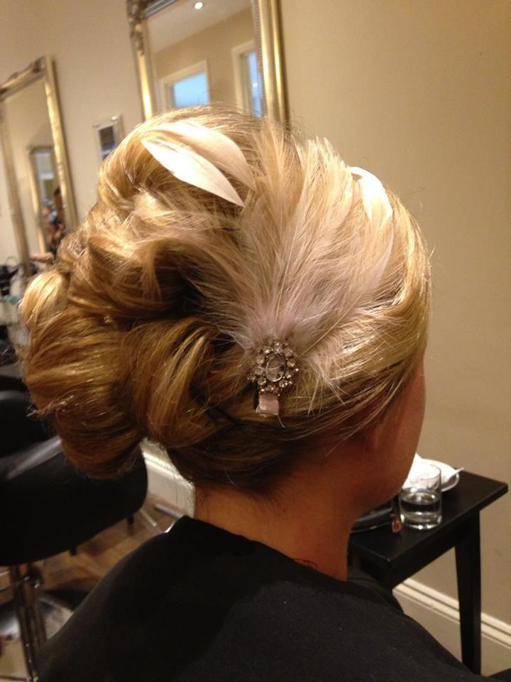 hair up with feather accessory by teresa clay hair salon On plume hair salon