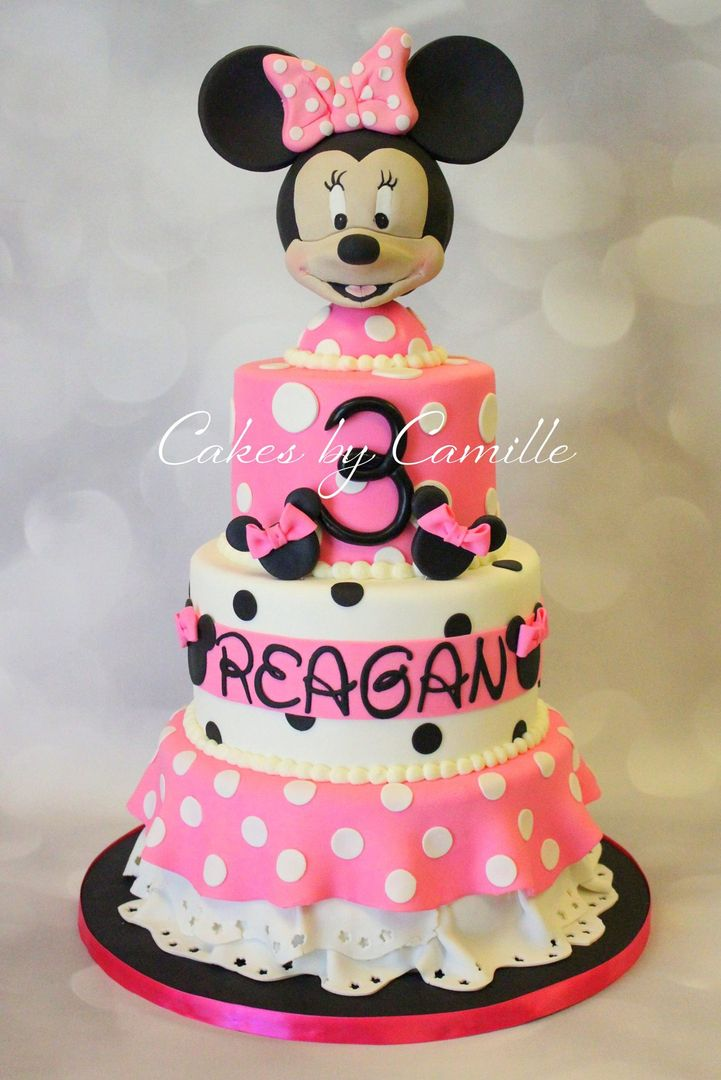 Minnie Mouse Birthday Cake Pink Polka Dot With Fondant