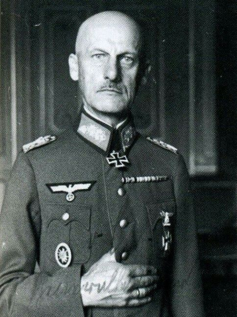 Generalfeldmarschall  Wilhelm Josef Franz Ritter von Leeb (05 September 1876 - 29 April 1956), commander Heeresgruppe C 1938-41, Heeresgruppe Nord 1941-42. Knight's Cross on 24 June 1940. On 16 January 1942 after the defeat at Leningrad was relieved of command. Leeb was tried by the American military tribunal in Nuremberg in the High Command Trial, was found guilty on one of four charges, crimes against humanity, and sentenced to time served. Wilhelm von Leeb died of a heart attack in 1956.