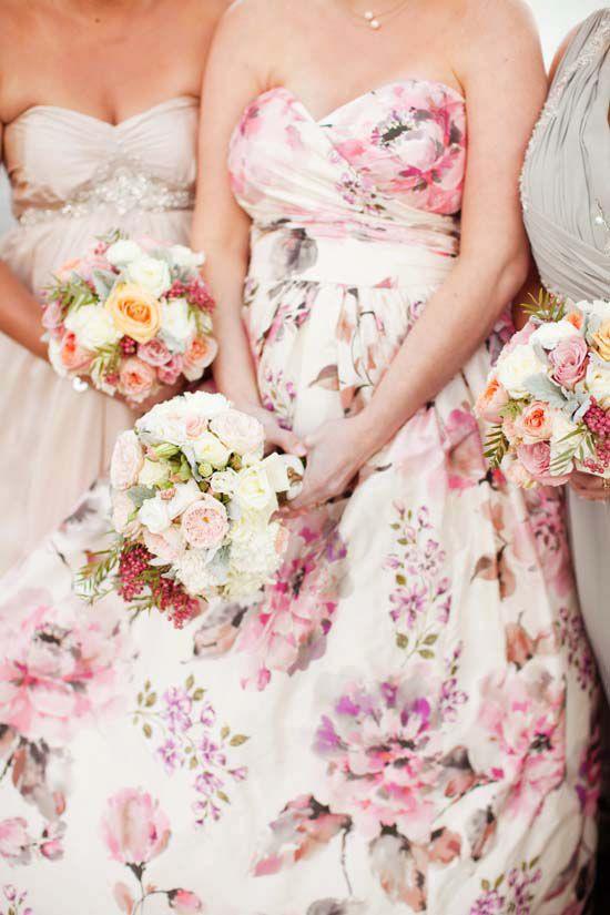 Gorgeous floral patterned wedding dress   Angela Higgins