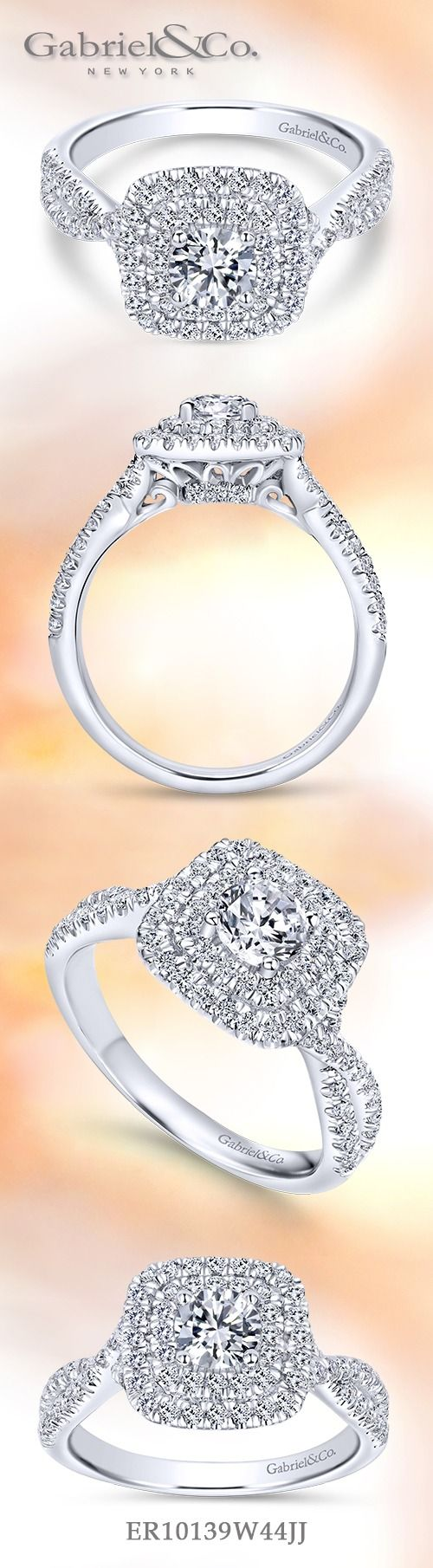 Gabriel & Co. - Voted #1 Most Preferred Fine Jewelry and Bridal Brand.  Meet Carmen - A round cut center stone double Halo Engagement Ring with a pair of glittering softened square halos. Overlapping strands of pave diamonds form the graceful band.