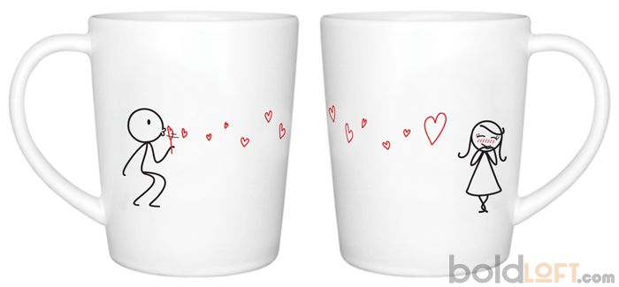 Unique His and Her Coffee Mug, From My Heart to Yours Couple Coffee Mug BoldLoft