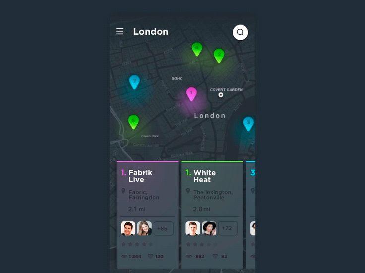 Concept appli événements UI animation Inspiration – transition de navigation