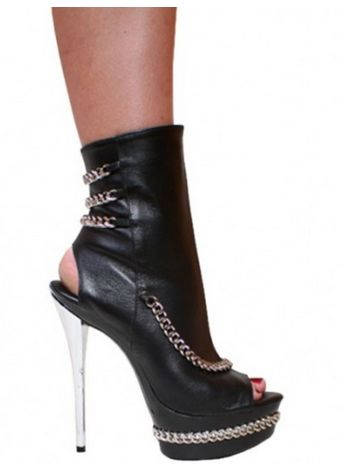 Leather and Chain 6 inch heel. Has an open back and an open heel along with a zipper.