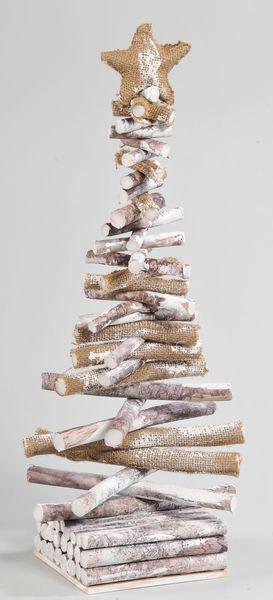 Sapin artificiel : blanc, pas cher, lumineux, à LED, haut de gamme... Arbre en bois, 66 cm, 19,90 euros, Magasins U - CôtéMaison.fr