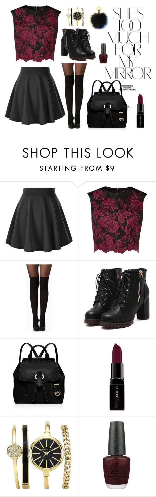 She's too much for the mirror by shop-styleloft on Polyvore featuring Ted Baker, Boohoo, Michael Kors, Smashbox, OPI, styleloft and Rika