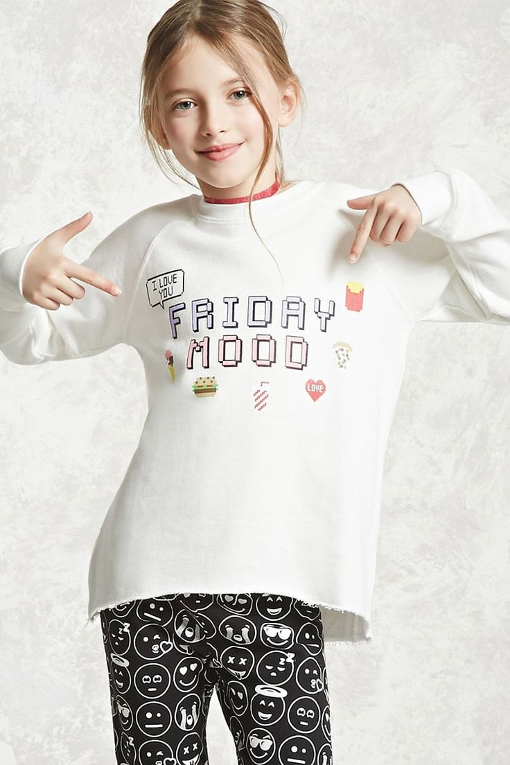 "Forever 21 Girls - A knit top featuring a ""Friday Mood"", ""I Love You"" speech bubble, and other various graphics including an ice cream cone, burger, drink, pizza, heart, and fries, ribbed trim, a round neckline, long sleeves, a French terry cloth lining, and a raw-cut hem."