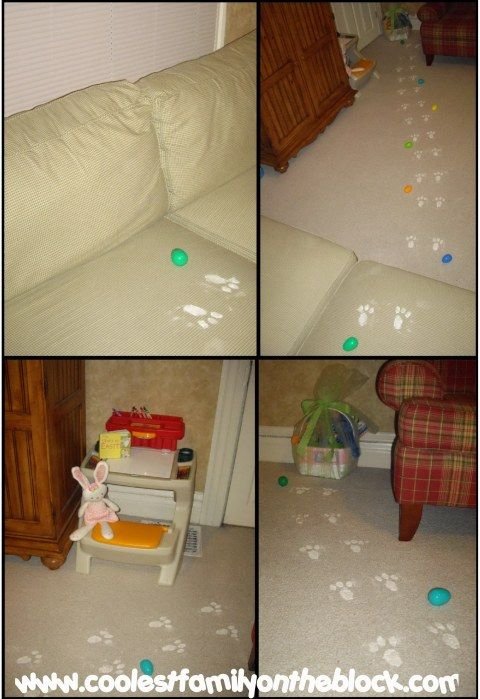 My mom used to do this. Easter bunny prints out of baby powder. I will totally do this for my kids!