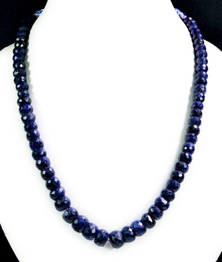 Natural Sapphire 495ct Big Size Faceted Beaded Gemstone String Necklace #KrishnaGemsNJewels #StrandString