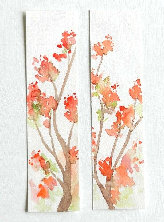 Set of Two Original Watercolor Bookmarks by GrowCreativeShop