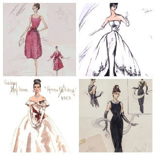 Edith Head costume sketches of Audrey Hepburn for Sabrina, Roman Holiday, and Breakfast At Tiffany's