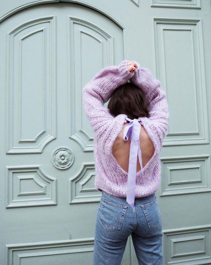 Open back mohair sweater