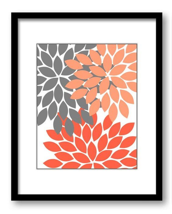 Flower Print Salmon Coral Grey Gray Chrysanthemum Flowers Print Wall Decor Modern Minimalist Bathroom Bedroom    This is for 1 print available in