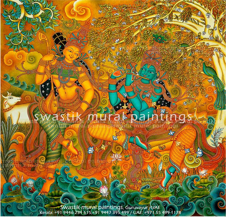 kerala mural painting RADHAMADHAVAM  Acrylic on canvas Size : 180cm x 180cm  #keralamuralpaintings # hariharanSwastik # Dileep Swastik #keralamurals #muralpaintings #keralaart #paintings #canvaspaintings #art #artist #muralpaintingsforsale #wwwswastikmuralscom