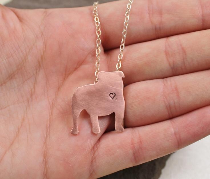 English Bulldog Love Necklace - Copper