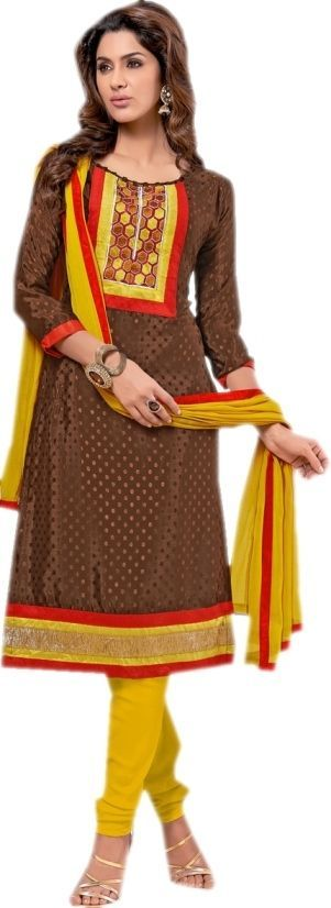 Brown Casual Wear Lace Border Patch Embroidery Work Salwar Kameez Suit #SareeStudio #SalwarStyle #CasualWear