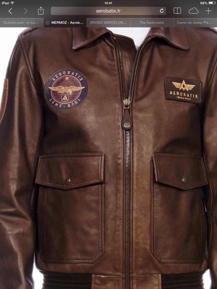Leather aviator jacket by Aerobatix