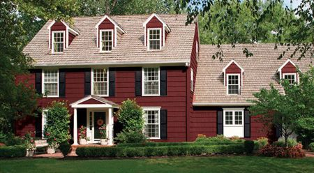 Farmhouse Benjamin Moore Exterior Paint Colors - Arroyo Red, Timid ...