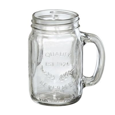 Features:  -Set includes 4 jars.  -Oasis collection.  -Hand made glass.  -Includes handles.  -Dishwasher safe.  -Holds 16 oz. per jar.  Product Type: -Mason jar/Drinkware set.  Color: -Clear.  Dishwas