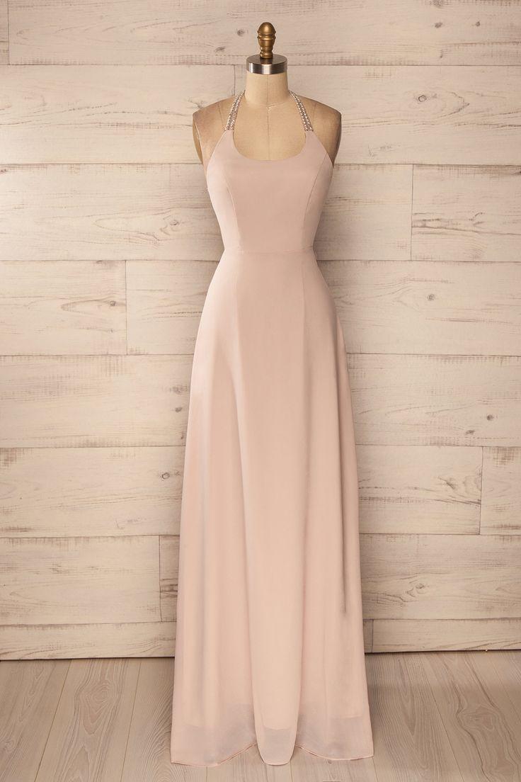 Robe longue beige dos ouvert découpes billes argentées - Beige silver beaded back cut-outs gown