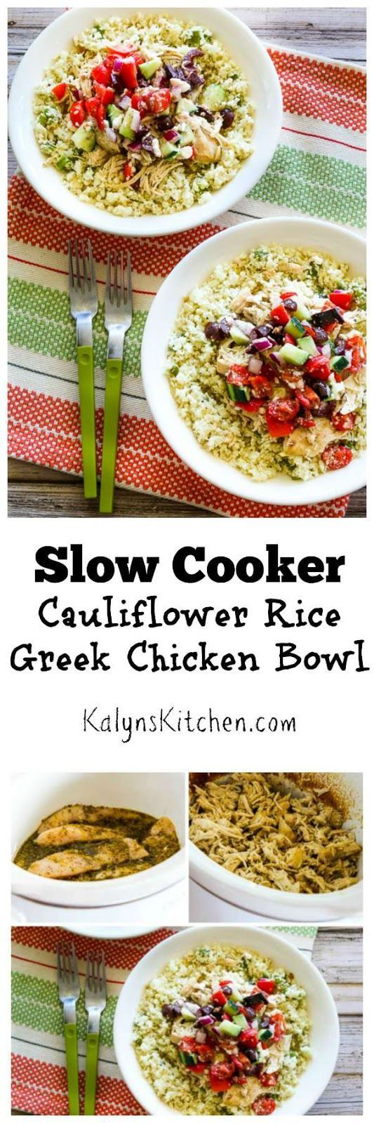 In this Slow Cooker Cauliflower Rice Greek Chicken Bowl shredded slow cooker Greek lemon chicken is served over cauliflower rice and topped with Greek salsa; so delicious!  (Low-Carb, Gluten-Free, Can Be Paleo) | [from KalynsKitchen.com]
