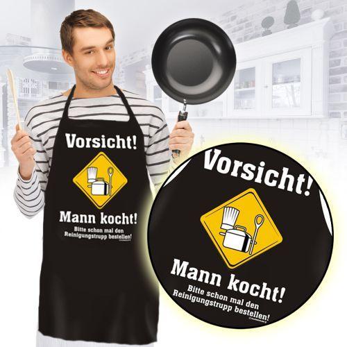 Die Schürze - Mann kocht ist ein lustiges Accessoire für den Herren, die bei keinem Kochevent fehlen darf und für einige Lacher sorgen wird.