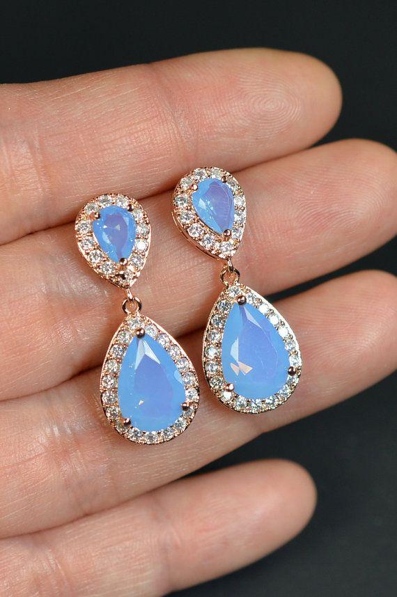 periwinkle blue ROSE GOLD Wedding Jewelry Bridesmaid Gift Bridesmaid Jewelry Bridal Jewelry Drop Earrings dangle Earring,bridesmaid gift