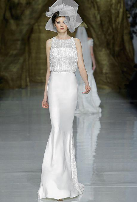 """""""Yamel"""" Pronovias Wedding Dress Spring 2014 Collection - Sleeveless Crepe Sheath with Beaded Bateau Neckline Bodice"""