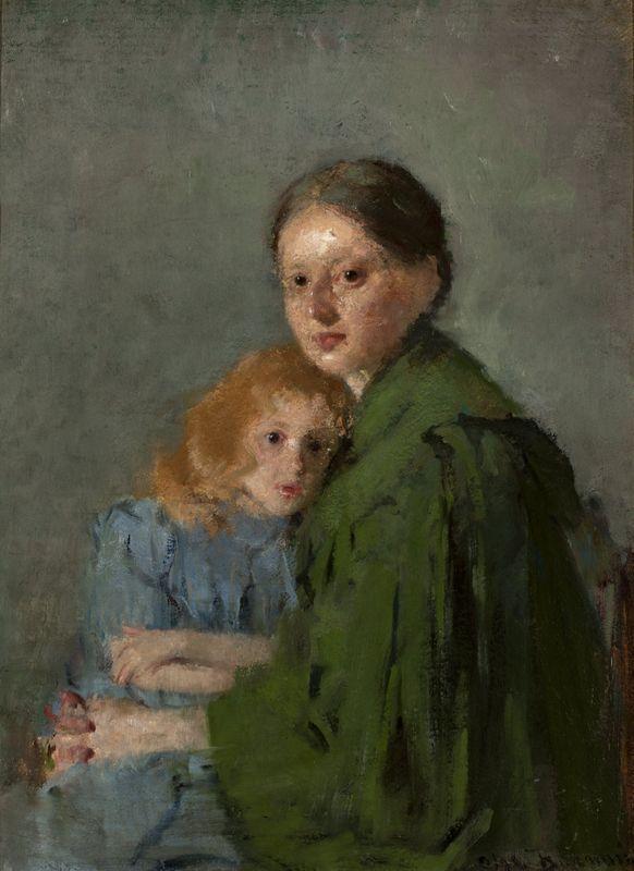 """""""Matka z dzieckiem (Portret kobiety z małą dziewczynką) / Studium kobiety z dziewczynką, Kobieta w zielonej sukni"""", 1893, wł. Muzeum Narodowe w Warszawie."""