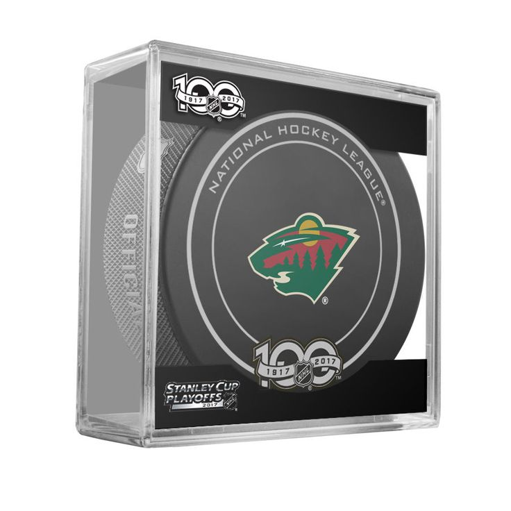 MINNESOTA WILD 2017 Stanley Cup Playoffs OFFICIAL GAME PUCK 100th Anniversary #Sherwood #MinnesotaWild