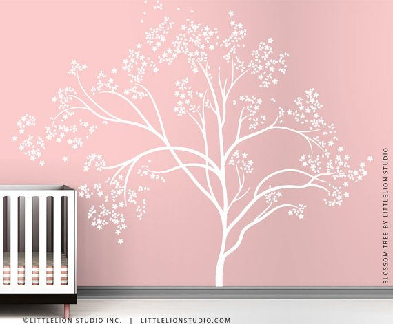 White Blossom Tree Extra Large Wall Decal Wall Decal by LittleLion Studio on Etsy, $131.28